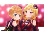 2girls :o baba_konomi bare_shoulders blonde_hair blue_eyes braid breasts cherry closed_mouth detached_sleeves dress drink earrings eyebrows_visible_through_hair food fruit hat hiiragi_kei holding holding_drink holding_food holding_fruit idolmaster idolmaster_million_live! idolmaster_million_live!_theater_days jewelry looking_at_viewer looking_back medium_hair momose_rio multiple_girls open_mouth red_eyes short_hair small_breasts smile