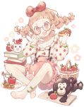 1girl :o apple apple_pie apple_print bangs basket bear blunt_bangs book_stack bow braid candy_apple child cup eating food food_on_face fruit full_body glasses hair_bow highres long_sleeves looking_at_viewer mug original pantyhose phone plate puffy_long_sleeves puffy_sleeves red_bow short_twintails simple_background sitting solo suspenders twin_braids twintails wakanagi_eku white_background white_legwear