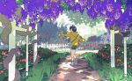 1girl dark_blue_hair flower full_body grass hair_over_one_eye hood hoodie looking_at_viewer ooto_ai outdoors outstretched_arms path plant purple_flower short_hair shorts solo taracod triangle_hair_ornament wisteria wonder_egg_priority yellow_hoodie
