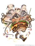 3girls :d animal_ears apron blonde_hair boots breasts chinese_clothes cupcake double_bun electric_guitar food food_themed_clothes frills full_body guitar hamburger highres instrument japanese_clothes ji_no kimono large_breasts long_hair looking_at_viewer maid_headdress medium_breasts multiple_girls official_art open_mouth pig_ears plump sinoalice skinny small_breasts smile socks suspenders tea three_little_pigs_(sinoalice) tube upper_teeth violet_eyes white_background