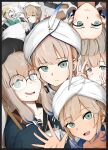 1other 2boys 2girls 3others absurdres bed blue_eyes blue_hair braid captain_nemo_(fate/grand_order) collarbone commentary_request dirty dirty_face fate/grand_order fate_(series) hat highres hospital_bed indoors jeancle_abel_meuniere long_sleeves looking_at_viewer mole mole_under_mouth multiple_boys multiple_girls multiple_others ninini_pix nurse_cap one_eye_closed open_mouth platinum_blonde_hair respirator single_braid sleeves_past_wrists smile tools turban upside-down