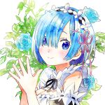 1girl black_ribbon blue_eyes blue_flower blue_hair blue_rose closed_mouth detached_sleeves eyebrows_behind_hair flower hands_together highres maid_headdress ohagi_(hg_ko) re:zero_kara_hajimeru_isekai_seikatsu rem_(re:zero) ribbon rose smile solo upper_body