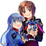 2girls absurdres bangs blue_eyes blue_hair blush brown_hair colored_inner_hair cosplay cover destiny_gundam eyebrows_behind_hair gundam gundam_seed gundam_seed_destiny gunpla hg_ni_koisuru_futari highres holding holding_toy kanzaki_sayaka_(hg_ni_koisuru_futari) kira_yamato kira_yamato_(cosplay) kudou_makoto looking_at_viewer mecha model_kit multicolored_hair multiple_girls official_art open_mouth red_eyes redhead shinn_asuka shinn_asuka_(cosplay) strike_freedom_gundam takamiya_sora toy white_background