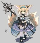 1girl animal_ear_fluff animal_ears arknights bangs black_footwear black_gloves blonde_hair blue_hairband blush boots braid closed_mouth commentary_request eyebrows_visible_through_hair fox_ears fox_girl fox_tail frilled_skirt frills full_body gloves grey_background hair_between_eyes hair_rings hairband holding kitsune looking_at_viewer multicolored_hair pantyhose pleated_skirt purple_skirt ryu_(17569823) shadow shirt single_glove skirt smile solo standing suzuran_(arknights) tail twin_braids two-tone_hair white_hair white_legwear white_shirt