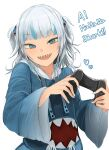 1girl :d a bangs blue_eyes blue_hair blunt_bangs catchphrase controller fingernails game_controller gawr_gura grey_hair heart highres holding holding_controller holding_game_controller hololive hololive_english long_sleeves looking_at_viewer medium_hair ne_kuro open_mouth sharp_teeth simple_background smile solo teeth two_side_up upper_teeth virtual_youtuber white_background white_nails