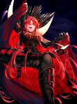 1girl armored_boots black_bodysuit bodysuit boots cape collared_cape family_crest fate/grand_order fate_(series) hair_over_one_eye hieno_hiro highres oda_nobunaga_(fate)_(all) oda_nobunaga_(maou_avenger)_(fate) oda_uri popped_collar red_cape red_eyes redhead smile solo