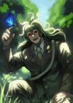 1boy animal bangs blue_butterfly bug butterfly butterfly_on_finger collared_shirt commentary_request danganronpa_(series) danganronpa_v3:_killing_harmony day forest formal glasses gokuhara_gonta grass green_hair hand_on_own_leg hand_up highres insect jacket long_hair long_sleeves male_focus nature necktie nyuukazai open_mouth outdoors red_eyes round_eyewear shirt signature smile solo tree upper_teeth white_shirt
