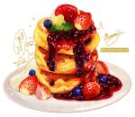 blueberry food food_focus fruit highres jam momiji_mao no_humans original pancake pastry plate signature simple_background stack_of_pancakes still_life strawberry translation_request white_background