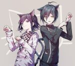 2boys ahoge animal_ears animal_print bangs black_hair black_jacket black_pants brown_eyes cat_boy cat_ears cat_print cat_tail checkered checkered_scarf closed_mouth commentary_request cowboy_shot danganronpa_(series) danganronpa_v3:_killing_harmony double-breasted extra_ears goto_(sep) grey_background highres jacket kemonomimi_mode long_arms long_sleeves looking_at_viewer looking_to_the_side male_focus multiple_boys one_eye_closed open_mouth ouma_kokichi pale_skin pants paw_pose saihara_shuuichi scarf short_hair smile straitjacket striped_jacket sweatdrop tail violet_eyes white_jacket