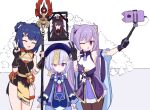 3girls ;d bead_necklace beads brown_hair china_dress chinese_clothes closed_eyes dress genshin_impact gloves hair_ornament hairclip hat holding holding_polearm holding_weapon hu_tao jagd jewelry jiangshi keqing_(genshin_impact) lying multiple_girls necklace on_back one_eye_closed open_mouth pantyhose photo_(object) polearm purple_hair qiqi red_eyes self_shot selfie_stick short_shorts shorts smile standing taking_picture twintails v violet_eyes weapon xiangling_(genshin_impact)