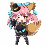 1girl alternate_costume animal_ear_fluff animal_ears blue_ribbon blush chibi fang fate/extra fate/extra_ccc fate_(series) fox_ears fox_girl fox_tail hair_ornament hat illustration_07 mini_hat mini_top_hat o-ring o-ring_top one_eye_closed open_mouth pink_hair ribbon simple_background solo tail tamamo_(fate)_(all) tamamo_no_mae_(fate) top_hat white_background yellow_eyes