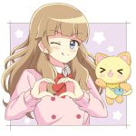 >_< 1girl :3 :d ;q bangs blue_eyes blunt_bangs blush border bow bowtie brown_hair collar commentary creature double-breasted earrings eyebrows_visible_through_hair heart heart_hands highres ichigo_junior_high_uniform jewelry long_hair long_sleeves mewkledreamy one_eye_closed open_mouth peko_(mewkledreamy) pink_sweater purple_background red_bow red_neckwear smile star_(symbol) star_earrings star_in_eye starry_background sweater symbol_in_eye tongue tongue_out tsukishima_maira upper_body white_border white_collar zeta_(24904340)