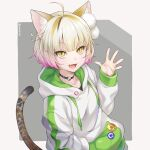 1girl :d ahoge animal_ears blonde_hair buttons cat_ears cat_tail collar eyebrows_visible_through_hair hand_up highres hood hood_down hoodie long_sleeves open_mouth original simple_background smile solo tail twitter_username yellow_eyes yukasummer