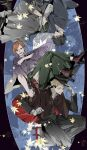 1girl 2boys bangs black_hair black_headwear black_jacket black_kimono black_pants blonde_hair book brown_cloak brown_eyes brown_footwear brown_hair cloak facial_mark floral_print full_body fushiguro_megumi gloves hakama hakama_pants hammer hat highres holding holding_book holding_clothes holding_hammer holding_hat itadori_yuuji jacket japanese_clothes jujutsu_kaisen kimono kugisaki_nobara leaf long_sleeves looking_at_viewer multiple_boys nail open_mouth pants purple_kimono reading red_footwear sandals shikiya shoes short_hair smile spiky_hair swept_bangs tabi undercut upside-down weapon white_gloves wide_sleeves