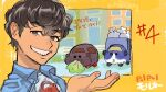 1boy blue_shirt brown_eyes brown_hair copyright_name eating episode_number eyebrows_visible_through_hair garbage_truck grin guinea_pig highres kab00m_chuck lettuce looking_at_viewer male_focus molcar pui_pui_molcar shirt smile smug symbol_commentary teddy's_driver_(pui_pui_molcar) teddy_(pui_pui_molcar) upper_body wavy_hair