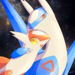 arm_around_neck claws closed_mouth commentary fang gen_3_pokemon latias latios legendary_pokemon looking_at_viewer no_humans nullma open_mouth orange_eyes pokemon pokemon_(creature) shiny shiny_skin skin_fang smile space tongue yellow_eyes