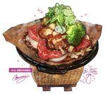 broccoli food food_focus highres leaf meat momiji_mao mushroom no_humans onion original pot signature simple_background sparkle spring_onion still_life translation_request white_background