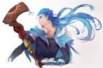 1boy blue_hair bracelet capelet closed_mouth cu_chulainn_(fate)_(all) cu_chulainn_(fate/grand_order) earrings elbow_gloves fate/grand_order fate_(series) fingerless_gloves floating_hair fur-trimmed_hood fur_trim gloves highres holding holding_staff hood hood_down hooded_capelet iash jewelry long_hair looking_to_the_side male_focus multiple_piercings red_eyes simple_background smile solo spiky_hair staff type-moon vambraces wooden_staff