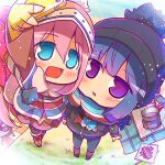 2girls :d bangs beanie black_headwear blue_eyes blue_hair blush boots brown_footwear cellphone chibi commentary eyebrows_visible_through_hair fingerless_gloves foreshortening from_above full_body gloves hair_between_eyes hat holding holding_phone kagamihara_nadeshiko knee_boots long_hair long_sleeves looking_at_viewer looking_up multiple_girls open_mouth pantyhose phone pink_coat pink_hair scarf self_shot shima_rin sidelocks smartphone smile standing striped striped_scarf suntail tent violet_eyes winter_clothes yellow_gloves yurucamp