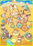 >_< 6+girls :c :d :o animal_ears anniversary apron arms_up ball_pit balloon bangs bird_tail bird_wings black_eyes black_hair black_leopard_(kemono_friends) blonde_hair blue_eyes bow bowtie brown_eyes brown_hair caracal_(kemono_friends) caracal_ears caracal_girl caracal_tail chibi circlet closed_mouth clouds dall_sheep_(kemono_friends) day dress drum dual_wielding elbow_gloves extra_ears eyebrows_visible_through_hair fisheye floating fox_ears fox_girl fox_tail from_above full_body gazelle_ears gazelle_horns gazelle_tail gloves golden_snub-nosed_monkey_(kemono_friends) grey_hair head_wings highres himalayan_tahr_(kemono_friends) holding holding_weapon horns instrument jumping kangaroo_ears kangaroo_tail kemono_friends kemono_friends_pavilion kotobuki_(tiny_life) leopard_ears leopard_tail light_brown_hair long_hair looking_at_another medium_hair monkey_ears monkey_tail multicolored_hair multiple_girls open_mouth orange_eyes orange_hair outdoors playground_equipment_(kemono_friends_pavilion) pogo_stick red_fox_(kemono_friends) red_kangaroo_(kemono_friends) redhead resplendent_quetzal_(kemono_friends) serval_(kemono_friends) serval_ears serval_girl serval_print serval_tail sheep_ears sheep_girl sheep_horns shirt short_dress silver_fox_(kemono_friends) sitting skirt sleeveless sleeveless_shirt smile standing tail thomson's_gazelle_(kemono_friends) trampoline twintails two-tone_hair v-shaped_eyebrows wading_pool weapon white_hair wings xd yellow_eyes