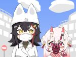2girls animal_ears bell black_hair city double_bun hair_bell hair_ornament hat hololive horn_warmers horns kani_bonara mask mouth_mask multiple_girls nakiri_ayame oni_horns oni_mask ookami_mio red_eyes road_sign sign stop_sign surgical_mask virtual_youtuber white_hair yellow_eyes you're_doing_it_wrong