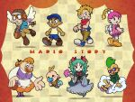 4boys 4girls apron baby bag bandages bangs bib blonde_hair blue_headwear bombette brown_footwear closed_eyes clouds copyright_name dress fan fingerless_gloves glasses gloves goombario green_hair hair_ribbon hat highres holding holding_fan humanization kooper lakilester lips long_hair long_sleeves mario_(series) messenger_bag multiple_boys multiple_girls open_mouth orange_hair pacifier pants paper_mario paper_mario_64 parakarry personification pink_dress pink_hair red_scarf resaresa ribbon sandals scarf shirt shoes short_sleeves shorts shoulder_bag simple_background sitting smile sneakers standing sunglasses sushie tank_top teeth thick_eyebrows thick_lips ukata watt_(paper_mario) wings