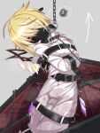 1girl angry arrow_(symbol) bdsm belt belt_buckle blonde_hair bondage bound buckle chain coffin covered_mouth eyebrows_visible_through_hair fang flandre_scarlet hair_over_eyes highres mask menou_74 mouth_mask red_eyes restrained short_hair solo straitjacket touhou v-shaped_eyebrows