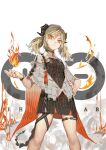 1girl absurdres arknights black_choker black_dress blonde_hair bright_pupils choker clay_(1517036882) closed_mouth commentary_request demon_girl demon_horns demon_tail dress feet_out_of_frame fire grey_jacket hand_on_hip highres horns ifrit_(arknights) jacket long_hair looking_at_viewer low_twintails nail_polish open_clothes open_jacket orange_eyes pyrokinesis red_nails rhine_lab_logo serious short_sleeves smoke solo standing striped tail thigh_gap twintails vertical-striped_dress vertical_stripes wristband