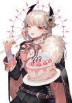 1boy ;p bangs black_cape black_jacket black_nails black_pants bow cake cape closed_mouth earrings eyebrows_visible_through_hair food fork fruit fur-trimmed_cape fur_trim happy_birthday holding holding_fork holding_plate jacket jewelry long_sleeves looking_at_viewer macaron machi_(7769) male_focus nail_polish one_eye_closed original pants pink_bow plate pointy_ears shirt silver_hair smile solo strawberry striped striped_bow tongue tongue_out white_background white_shirt
