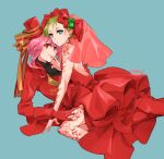 2girls alternate_costume alternate_hairstyle backless_dress backless_outfit blue_background bow dress emerald_(gemstone) formal girl_on_top gloves green_hair hair_behind_ear hair_bow hand_on_another's_thigh hat henna looking_at_viewer macross macross_delta makina_nakajima multiple_girls ooomi pink_hair pointy_ears red_dress red_eyes red_gloves red_headwear red_suit reina_prowler short_hair suit tied_hair yellow_bow yuri