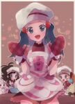 3girls :d alcremie apron black_hair blush buttons commentary_request dawn_(pokemon) dress eyelashes food frills fruit gen_5_pokemon gen_8_pokemon grey_headwear hair_ornament hairclip hat head_tilt highres hilda_(pokemon) long_hair looking_at_viewer mittens mixing_bowl multiple_girls ohds101 open_mouth pokemon pokemon_(creature) pokemon_(game) pokemon_masters_ex red_dress red_mittens serena_(pokemon) smile strawberry tongue whimsicott whisk