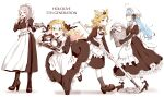 4girls absurdres ahoge akubi_darake alternate_costume animal_ears apron blonde_hair blue_hair braid bun_cover cake double_bun dress enmaided food fox_ears grey_hair high_heels highres hololive laundry laundry_basket lion_ears long_dress long_hair maid maid_apron maid_headdress momosuzu_nene mop multiple_girls omaru_polka shishiro_botan tea_set tray tripping virtual_youtuber white_background yukihana_lamy