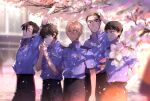 5boys :d amuro_tooru arm_at_side arm_behind_back arm_up bangs belt black_hair blonde_hair blue_eyes blue_shirt blurry blurry_background brown_eyes brown_hair cherry_blossoms cigarette closed_mouth collared_shirt commentary_request date_wataru day falling_petals flower from_side hagiwara_kenji hair_between_eyes hand_in_pocket happy holding_lighter kanamura_ren lighter lighting_cigarette looking_to_the_side looking_up male_focus matsuda_jinpei meitantei_conan mouth_hold multiple_boys open_mouth parted_lips petals pink_flower police police_uniform policeman scotch_(meitantei_conan) shirt short_hair short_sleeves smile standing stretch tree uniform watch watch