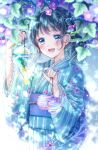 1girl :d black_hair blue_eyes blue_kimono earrings flower happy highres japanese_clothes jewelry kimono kousagi lace-trimmed_sleeves lace_trim morning_glory open_mouth original smile solo sparkle visible_ears wide_sleeves wind_chime yukata