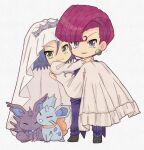 1boy 1girl bridal_veil carrying crossdressing dress gen_1_pokemon highres hutao_poke james_(pokemon) jessie_(pokemon) nidoran nidoran_(female) nidoran_(male) pokemon pokemon_(anime) team_rocket veil wedding wedding_dress