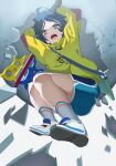 1girl angry arms_up blue_hair blue_shorts dark_blue_hair eggshell hair_ornament hairclip heterochromia highres holding holding_weapon hood hood_down hoodie long_sleeves ooto_ai open_mouth sakurami_sumi shoes short_hair shorts sneakers solo weapon wonder_egg_priority yellow_eyes yellow_hoodie