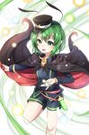 ametama_(runarunaruta5656) androgynous antennae bangs black_cape blue_shorts cape danmaku feet_out_of_frame flat_chest green_eyes green_hair highres holding holding_cape knee_up light_blush long_sleeves mary_janes military military_uniform open_mouth pointy_ears red_cape shoes short_hair shorts smile tagme tomboy touhou two-sided_cape two-sided_fabric uniform upper_teeth very_short_hair wriggle_nightbug