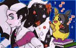 1boy aoshima_(pidove810) bangs black_hair blue_background book choker christmas commentary_request gen_8_pokemon green_eyes gym_leader holding jacket long_hair looking_to_the_side lowres male_focus morpeko morpeko_(full) multicolored_hair musical_note piers_(pokemon) pixel_art pokemon pokemon_(creature) pokemon_(game) pokemon_swsh simple_background sparkle two-tone_hair white_jacket