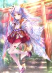 1girl absurdres angel_beats! commentary_request fox_mask fox_tail full_body goto_p hakama hakama_skirt highres japanese_clothes long_hair looking_at_viewer mask mask_on_head miko okobo one_side_up red_hakama silver_hair solo stairs tail tenshi_(angel_beats!) thigh-highs torii tree white_legwear wide_sleeves yellow_eyes