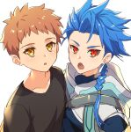 2boys black_shirt blue_hair braid brown_hair chiharudaaaaaaa cu_chulainn_(fate)_(all) earrings emiya_shirou fang fate/grand_order fate/stay_night fate_(series) highres hood hood_down jewelry looking_at_viewer multiple_boys open_mouth red_eyes setanta_(fate) shirt side-by-side simple_background single_braid white_background yellow_eyes younger