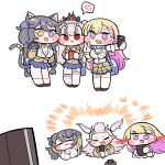 3girls :3 :i :p anger_vein animal_ears bangs black_hair bleeding blonde_hair blood blush_stickers boryeon braid breasts bulga cat_ears cat_paws cat_tail chibi colored_inner_hair draculina_(last_origin) fang large_breasts last_origin loud microphone multicolored_hair multiple_girls music paws poi_(last_origin) pointy_ears purple_hair red_eyes school_uniform silver_hair simple_background singing skirt spoken_anger_vein tail tongue tongue_out twin_braids v vampire violet_eyes white_background yellow_eyes