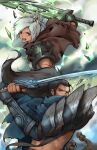 1boy 1girl absurdres armor black_hair brown_eyes gauntlets gloves grey_eyes highres huge_weapon katana lcw961904412 league_of_legends open_mouth riven_(league_of_legends) runes shoulder_pads sword tied_hair weapon white_hair yasuo_(league_of_legends)