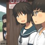 1boy 3girls :o ad artist_name bangs blue_sailor_collar blunt_bangs blush bob_cut brown_eyes bus_stop commentary_request dress_shirt fubuki_(kantai_collection) glasses grass hair_between_eyes hatsuyuki_(kantai_collection) hime_cut hotaryuso kantai_collection long_hair looking_at_another miyuki_(kantai_collection) multiple_girls open_mouth peeking_out peeping raised_eyebrows sailor_collar school_uniform serafuku shelter shirt short_hair short_sleeves side-by-side sidelocks sign smile sneaky surprised swept_bangs translated undershirt upper_body walking white_shirt