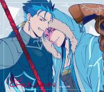 2boys abs armor beads blue_hair bodysuit capelet character_name closed_mouth cu_chulainn_(fate)_(all) cu_chulainn_(fate/grand_order) earrings fate/grand_order fate/stay_night fate_(series) fur-trimmed_hood fur_trim gae_bolg grin hair_beads hair_ornament hood hood_up hooded_capelet jewelry lancer long_hair looking_at_viewer male_focus mineco000 multiple_boys multiple_persona muscular pauldrons pectorals ponytail red_eyes shoulder_armor skin_tight smile spiky_hair staff twitter_username type-moon