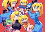 :< abs arm_cannon ass blonde_hair blue_eyes bodysuit breasts crop_top green_hair gun handgun highres justin_bailey leotard looking_at_viewer metroid metroid_fusion mole mole_under_mouth multiple_persona navel o3o ponytail rariatto_(ganguri) red_background samus_aran serious simple_background smile stomach super_metroid toned weapon zero_suit
