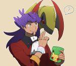 1boy :t ? bag bangs bright_pupils buttons character_print chips closed_mouth cravat dark-skinned_male dark_skin dynamax_band eating facial_hair food gen_1_pokemon gen_5_pokemon haxorus highres holding holding_bag leon_(pokemon) long_hair male_focus morio_(poke_orio) outline pikachu pokemon pokemon_(creature) pokemon_(game) pokemon_swsh purple_hair sleeves_rolled_up smile spoken_question_mark tailcoat upper_body white_neckwear white_pupils yellow_eyes