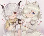 2girls ahoge alpaca_ears alpaca_girl alpaca_suri_(kemono_friends) animal_ears arm_at_side black_horns blue_eyes brown_eyes chibi closed_mouth commentary_request dress extra_ears fur-trimmed_sleeves fur_collar fur_trim gloves grey_horns hair_bun hair_over_one_eye hand_up hands_together heart heart_hands heart_hands_duo highres horns kemono_friends lbwtnnvekvk5fft long_hair long_sleeves looking_at_viewer medium_hair multicolored_horns multiple_girls neck_ribbon open_mouth ox_ears ox_girl ox_horns ribbon shiny shiny_hair shirt short_sleeves side-by-side sidelocks silver_hair smile sweater upper_body white_dress white_hair yak_(kemono_friends) yellow_shirt
