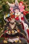 1boy 1girl :d animal artist_name bangs bare_shoulders bell belt bird black_hair black_jacket blue_flower breasts brown_flower character_request closed_mouth commentary dragalia_lost dress english_commentary eyebrows_visible_through_hair flower flower_wreath fur_collar gloves head_wreath headgear hentaki highres holding holding_animal jacket jingle_bell long_hair medium_breasts open_mouth pink_eyes pink_flower red_eyes redhead scar_on_mouth sitting smile standing very_long_hair watermark web_address white_belt white_dress white_gloves yellow_flower