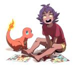 1boy bangs barefoot charmander child_drawing commentary_request dark_skin dark_skinned_male eyelashes fire gen_1_pokemon highres knees korean_commentary leon_(pokemon) male_focus medium_hair missing_tooth open_mouth pokemon pokemon_(creature) pokemon_(game) pokemon_swsh purple_hair red_shirt redlhzz shirt short_sleeves shorts sitting smile soles starter_pokemon t-shirt teeth toes yellow_eyes yellow_shorts younger