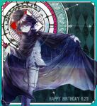 1boy argyle argyle_background bangs black_cape black_hair black_headwear cape cape_lift checkered closed_mouth commentary_request danganronpa_(series) danganronpa_v3:_killing_harmony dated double-breasted feet_out_of_frame from_side goto_(sep) grey_jacket hair_between_eyes hand_up happy_birthday hat highres jacket looking_at_viewer male_focus multicolored multicolored_background one_eye_closed ouma_kokichi outside_border pants purple_hair shiny shiny_hair smile solo standing white_pants